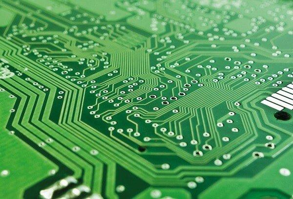 A semiconductor PCB closeup