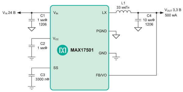 Simplified diagram of a switching power supply based on MAX17501
