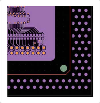 An example of filling with copper technologicalfields of a printed circuit board