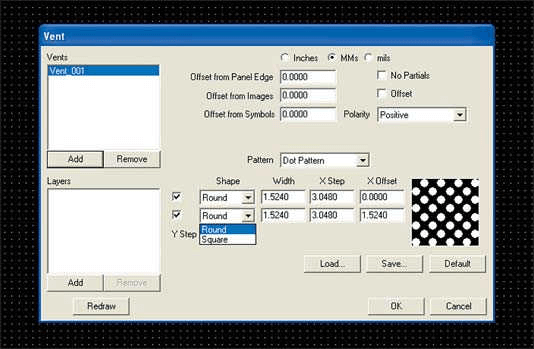 Interface of the CAM-system for selecting the filling parameters