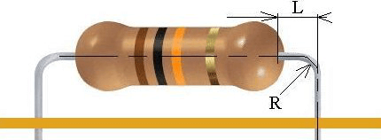 Dimensions of the molded component terminal in the axial terminal package